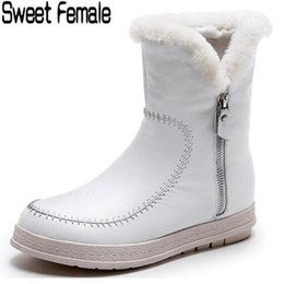 Sweet Female Boots Australia - Sweet Female 5780 Natural Genuine Leather Warm Snow Boots Women Footwear Winter Plush Boots Hand Sewn Shoes For Lady Black White