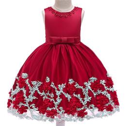 f952bb73b33b Baby Girl Princess Dress Children Wedding Dress Kids Mesh Lace Sleeveless  Bowknot Boat Neck Ball Gown 28