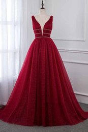 dress inspired elie saab NZ - Real Pictures Puffy Burgundy Sleeveless V-Neck Elegant Evening Dresses elie saab Prom Dresses red carpet celebrity dress Formal Party Gown