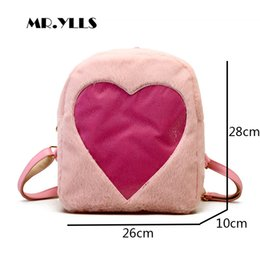 $enCountryForm.capitalKeyWord Canada - Free shipping Kawaii Plush Women Backpack Clear Transparent Heart Schoolbags For Teenage Girls Fashion Student Backpack Women Back Pack 2019