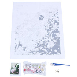 Oil paintings girls online shopping - Diy oil painting paint by number kit Little girl and white pigeon
