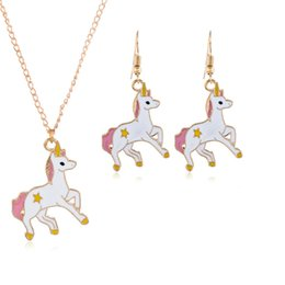 $enCountryForm.capitalKeyWord Australia - European American Women fashion jewelry Christmas horse earrings necklace set birthday festival gift