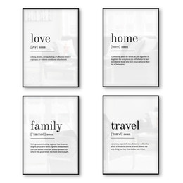family love wall decor Canada - Love Home Family Travel Definition Print Poster Wall Art Canvas Print Quotes Minimalist Poster Picture Decor Black White