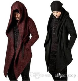 hip hop belts for men Australia - Mens Solid Color Hooded Trench Coats Irregular Hem Windbreaker Jackets for Men Casual Hip Hop Cardigan Winter Outwear Coats Black Wine Red
