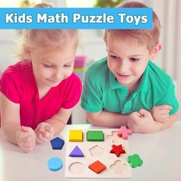geometry puzzle UK - Kids Baby Wooden Toys Colorful 3D Puzzle Geometry Early Learning Montessori Toys For Children Wood Toy Puzzles Dropshipping2019