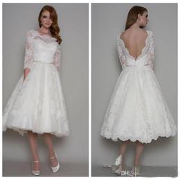 $enCountryForm.capitalKeyWord NZ - On Sale Summer Short Lace Bridal Wedding Dresses Tea Length Bateau Neck A Line 3 4 Long Sleeves Backless Ivory Bridal Gowns