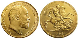 imitation gold coins NZ - UK Rare 1908 British coin King Edward VII 1 Sovereign Matt 24-K Gold Plated Copy Coins Free Shipping