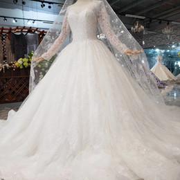 $enCountryForm.capitalKeyWord Australia - 2019 Newest Long Sheer Sleeve Wedding Dresses Illusion Neckline Open Keyhole Back Long Applique Veil Shining Crystal Garden Wedding Gowns