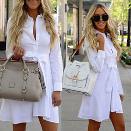 New 2018 Fashion Summer Vintage White Sheath A-line Dress Casual Turn Dow  Collar Bow Tie Dresses Women Shirt Paty Mini Dresses Y19012201 5a69401a91e1