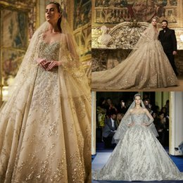 Zuhair Murad Summer Wedding Dress Australia - Zuhair Murad Luxury Wedding Dresses 2019 Sheer Long Sleeve Sequins Ball Gown Beads Cathedral Train Vintage Wedding Dress robe de mariée