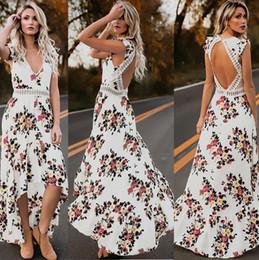 $enCountryForm.capitalKeyWord Australia - Spot European and American women's new summer 2019 irregular dovetail skirt hollow back sweet print dress