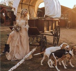 $enCountryForm.capitalKeyWord NZ - Charming Lace Spring V-Neck Garden Wedding Dresses Boho Bohemian Long Sleeve Sheer Arabic Plus Size vestido de noiva Bridal Gown Ball Bride