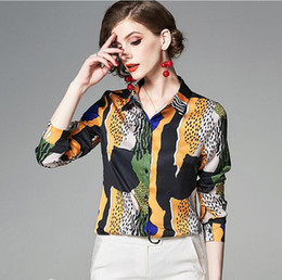 Leopard Print Goods Australia - New Abstract leopard print yellow black white women blouses shirt good quality ladies shirts for sale