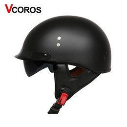 China VCOROS Fiber glass Harley Style Motorcycle Helmet Half Face motorbike Helmet with inner sun lens vespa moto helmets DOT approved cheap vespa helmets suppliers