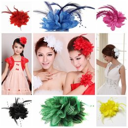 white bead hair clips Australia - Hot Women Ladies Flower Feather Bead Corsage Hair Clips Fascinator Bridal Hairband Brooch Pin