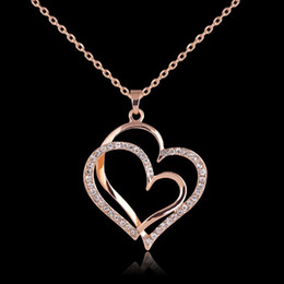 Friend Ship Pendants Australia - Crystal Double Heart Necklace Dual Love Heart to Heart Pendant with Gold Chain for Women Best Friend Fashion Jewelry DROP SHIP 162161