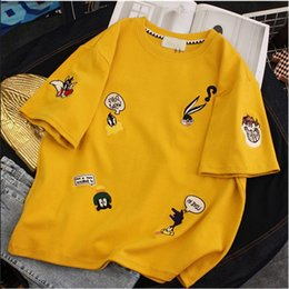 $enCountryForm.capitalKeyWord NZ - GCAROL Harajuku Cartoon Embroidered Plus Size T shirt High Street Summer Drop Shoulder Kawaii Tees Candy Oversized Tops Q190522