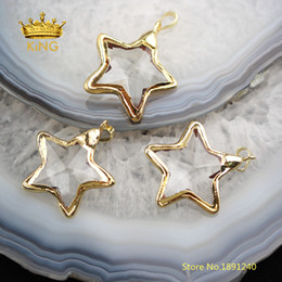Craft Pendants Wholesale Australia - 10pcs Star Shaped Bezel Pendants Crafts Earrings,35mm Faceted Clear Glass Plated Gold Edged Charms Necklace Wholesale Yt30 J190615