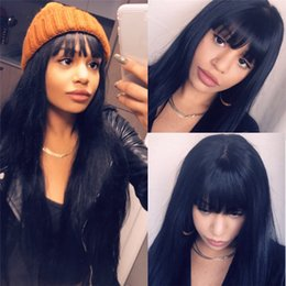 Black long straight Bangs human wigs online shopping - 13x6 Lace Front Human Hair Wigs With Bangs For Black Women Remy Brazilian Human Hair Lace Front Wig Pre Plucked Bang