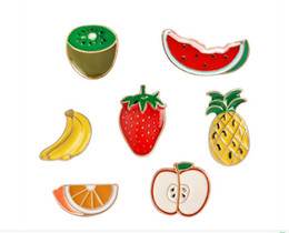 $enCountryForm.capitalKeyWord Australia - 2019 New fashion Colorful Enamel Fruit Brooches women Apple banana pineapple strawberry watermelon Cartoon Pins badge For children
