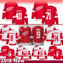 d096e9571 Detroit Red Wings 71 Dylan Larkin Hockey Jersey 14 Gustav Nyquist 40 Henrik  Zetterberg 8 Justin Abdelkader 19 Steve Yzerman 9 Gordie Howe