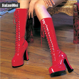 de9019974dca Sexy Lace Fetish Australia - 12cm Women chunky High heeled platform long  boots PU Leather lace