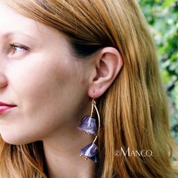 Vintage Copper Earrings Dangle Australia - Dangle eManco Morning Glory Acetate Dangle Earrings Elegant Lovely Transparent Vintage Flowers Long Earrings For Women Summer Style