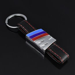 holder auto Australia - 2 Pieces 3D Mental Leather Car Logo Keyring Keychain Auto Key Ring Key Chain Holder Keyfob For BMW M3 Car Styling Accessories