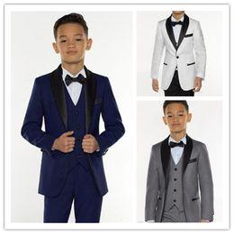 Kids Ivory Suit Australia - Custom Made Boys Tuxedo Boys Dinner Suits Three Piece Boys Black Shawl Lapel Formal Suit Tuxedo for Kids Tuxedo