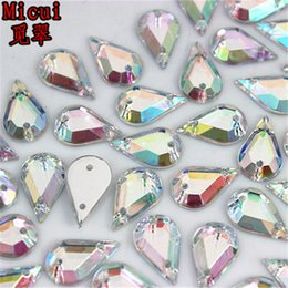 Sew Rhinestones For Clothes Australia - Micui 300PCS 8*13 7*12mm Drop Golden Crystal Acrylic Rhinestone Sew On Flat Back Crystals Stones For Clothing Dress Diy ZZ220