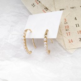 japanese pearls 2019 - Japanese and Korean Style Simple C-shaped Earrings Fashion Temperament Imitation Pearl Jewelry Girl Women's Accesso