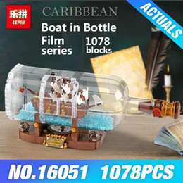 kids pirate ships toys 2019 - Lepin 16051 Movie Series The 21313 Ship in a Bottle Set Caribbean Building Blocks Bricks Pirates Toys Kids Birthday Gift