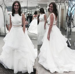 Discount wedding dresses two slits - Real Image White Two Piece Wedding Dresses Boat Neck Ruffles Tassel Organza Low V Back Summer Train Beach Bridal Gowns F