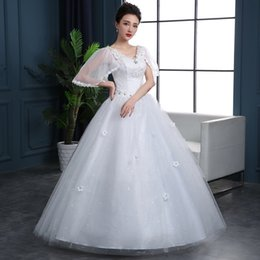 thin simple wedding dresses UK - Wedding dress new slim sleeves lace large size simple word shoulder was thin