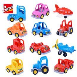 $enCountryForm.capitalKeyWord Australia - OROCK Original Classic City Car Large Particles Building Block Truck Plane Bus DIY Brick Baby Kids Model Toys Compatible Duploe GOROCK Or...