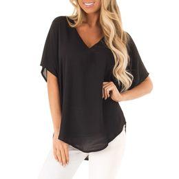 Wholesale black shirt chiffon hem for sale – plus size Women Casual Tee Shirt Tops Femme Chiffon Short Sleeve V Neck Solid Dolman Irregular Hem Blouse shirt Top tee femme NEW