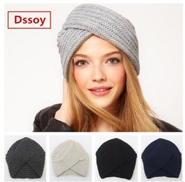 Fashion Winter Headbands Beanies Australia - Fashion Womens Bohemia Knitted Headbands For Winter Acrylic Winter Sports Head Warmer Beanie Solid Color Fancy Hats For Woman Gorro Gorras