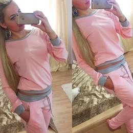 $enCountryForm.capitalKeyWord NZ - Hot Sale Women Sexy Tracksuits 2PCS Set,Jogger Tracksuit Sets,Classic sportswear Long Sleeved T-shirt Sports Suit Fashion Tops+Pants