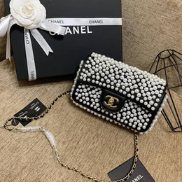 Pearl Ladies Handbag UK - New French high-end brand ladies shoulder bag fashion leather business casual party travel women's black and white pearl handbag free shippi