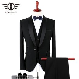 Stylish Formal Suits Australia - Plyesxale Black Suit Men 2018 Slim Fit Groom Wedding Suits For Men Stylish Brand Shawl Collar Formal Business Dress Suits Q128 Y190420