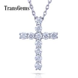 Pendants Crosses Australia - Transgems Cross Shaped 14k White Gold Moissanite 3mm F Color 1.1 Ctw Brilliant Cross Pendant Necklace For Women Y19061203