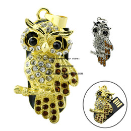 4gb flash drive wholesale Australia - Metal Crystal Lovely Owl usb U Disk 64GB 128GB Pen drive 16GB 32GB Pendrive Acrystal usb flash Memory 4GB 8GB stick USB Animal mini gift