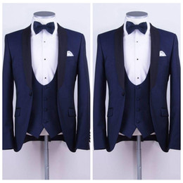 $enCountryForm.capitalKeyWord Australia - Formal Tailor Made Mens Suit Two Pieces Wedding Tuxedos Slim Fit Groom Formal Business Prom Party Suits For Men (Jacket+Vest+Bow Tie)