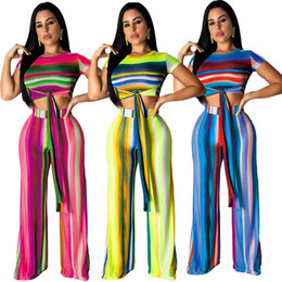 $enCountryForm.capitalKeyWord Australia - Fashion Striped 2 Piece Set Summer Lace Up Short Tee And Full Length Straight Pants Suits Hot Sale Women Casual Outfits