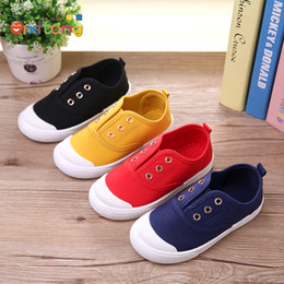 canvas one shoes NZ - 2019 spring new men and women children canvas shoes candy color comfortable Korean version of boys and girls shoes elastic band one foot