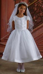 $enCountryForm.capitalKeyWord NZ - 2019 On Sale First Holy Communion Gowns White Organza Jewel Neck Embroidery Tea Length Short Sleeve Holy Communion Dresses