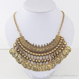 ancient gold coins UK - necklaces pendant Beautifully Vintage exaggerated alloy carved tassel coin Collar necklaces ancient silver coin chokers statement necklaces