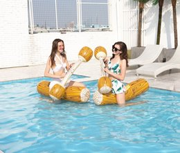 water ring game Canada - Water mounts wood grain floating row set water entertainment paddling game adult toys swimming ring