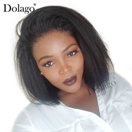 $enCountryForm.capitalKeyWord Australia - Kinky Straight 13x6 Lace Front Human Hair Wigs For Women 180% Density Coarse Yaki Brazilian Short Bob Wig Dolago Black Full Remy Y190713