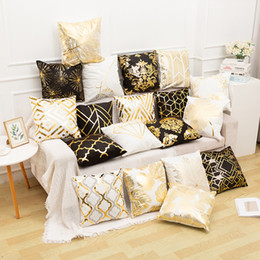 2020 gold stamping pillow case customized popular household European classic sofa cushion cover gold stamping waist pillow case on Sale